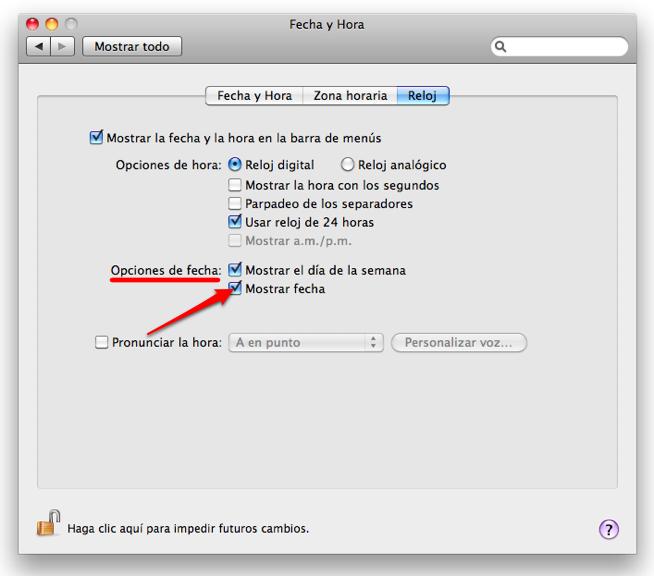 Como poner la Fecha en el Barra de menu del Mac  6e0ae39ac435