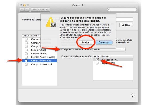 compartir internet mac ipad 8